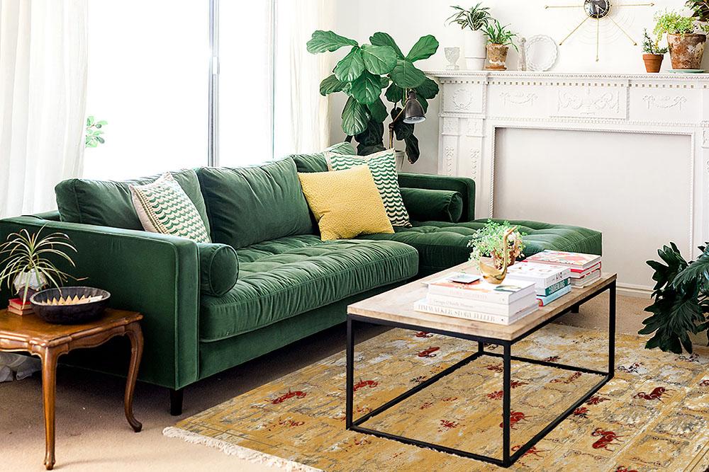 انتخاب رنگ فرش و مبل متضاد-مبل سبز